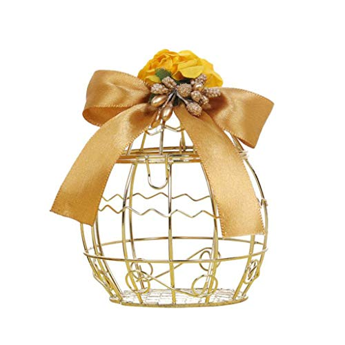 (NszzJixo9 Hollow Bird Cage Wedding Party Gift Box - Container Tinplate Candy Chocolate Boxes, Deluxe Party Wedding Favor Super Gift Vintage Decorative Centerpieces (D) )