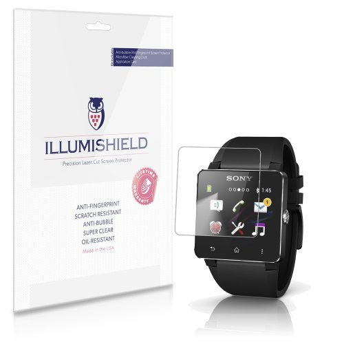 iLLumiShield Screen Protector Compatible with Sony Smartwatch 2 (3-Pack) Clear HD Shield Anti-Bubble and Anti-Fingerprint PET Film