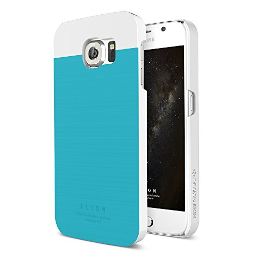 Galaxy S6 Case, DESIGNSKIN® [ALION] - Two-tone Color Real Metal Cover Protection Aluminium Slim Fit Simple Design Apple Smartphone Case - [Blue] (Two Metal Tone)