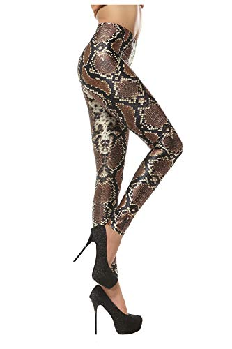 Dimplee Women Snakeskin Leggings Sexy Stretchy Shaping Slim Animal Print Tights Pants (Snakeskin, M(US 4~6))