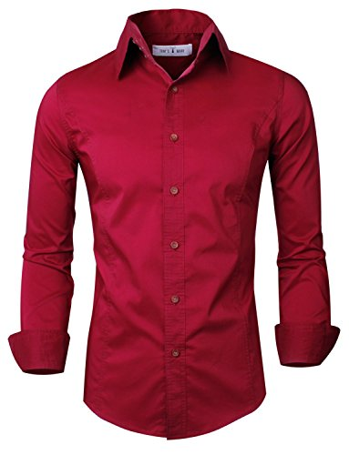 Tom's Ware Mens Casual Luxury Dress Shirts TWNMS313S-WINE-2XL (US XL)
