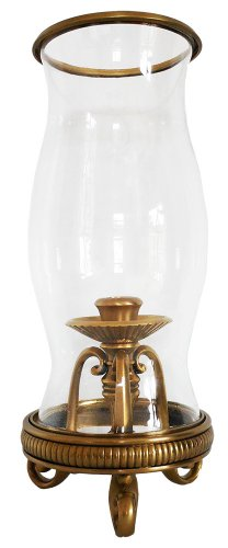 Inviting Home HCS5485 Scroll Feet Brass Hurricane Lamp, Antique Brass (Wall Hurricanes Blown Glass)