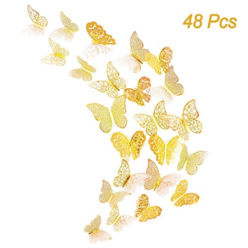 Creatiee 48Pcs Butterfly Decorations, 3D Wall Decals|Metallic Art Sticker, DIY/Handmade/ Removable/Pressure Resistance Paper Murals Gift for Home Kids/Girls Bedroom Nursey Party Décor (Gold Style) (Wall Butterfly Stickers)
