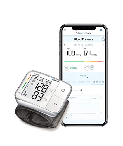 Beurer Bluetooth Smart, Wireless & Automatic Wrist Blood Pressure Monitor with Large LCD Display, Multi-Users with Free HealthCoach App, BC57