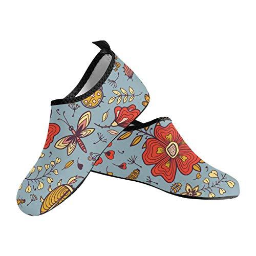 INTERESTPRINT Men's Water Sports Shoes Flowers Butterflies Dragonflies Pattern Barefoot Shoes Quick Dry Aqua Socks US14-US14.5
