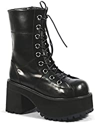 Summitfashions Platform Ankle Boots Black Lace Up Boots 3 1/2 Inch Chunky Heel Gothic Punk