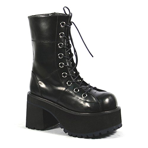 Summitfashions Platform Ankle Boots Black Lace Up Boots 3 1/2 Inch Chunky Heel Gothic Punk Size: 10 -