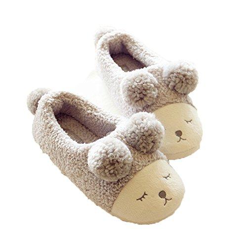 Gris de en d'intérieur Les Chambre peluche pas moutons pantoufles pour chaudes de des chaudes à la d'hiver mouette chaussures chambre nbsp; ne glissent coucher bottes femmes des wqFqt