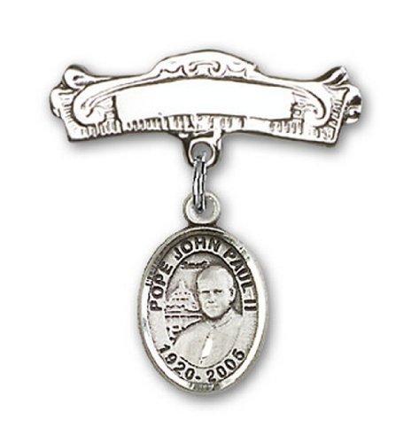 Icecarats Créatrice De Bijoux En Argent Sterling Pape Jean-Paul Ii Charme Broches Badge Arc 7/8 X 7/8