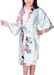 Admireme Girls' Peacock Satin Kimono Robe Bathrobe Nightgown for Spa Party Wedding Birt