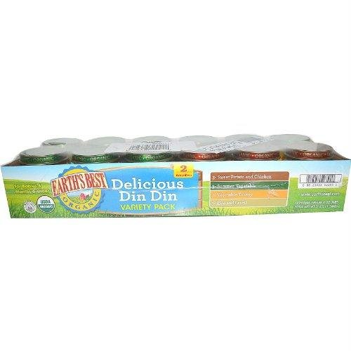 Earths Best Organic Stage 2 Delicious Din Din Variety Pack, 4 Ounce - 12 per pack -- 1 (Dinner Variety Pack)