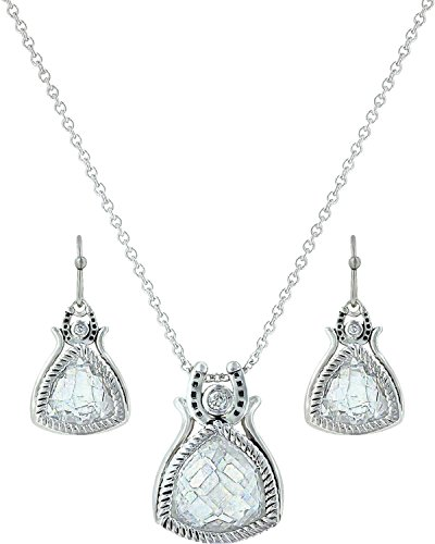 Montana Silversmiths Women's Hidden Treasure Horseshoe Jewelry Set Silver One Size (Jewelry Large Horseshoe)
