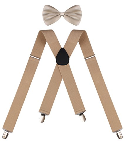 ORSKY men's suspenders heavy duty khaki bow tie men's suspenders Khaki (Mrs Christmas Outfit)