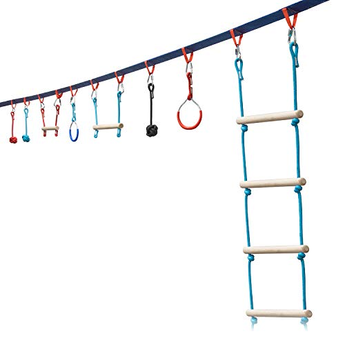Sunny & Fun Portable 50 Foot Slackline Monkey Bar and Ladder Kit - Kids Swinging Obstacle Course Set - Bars, Fists, Gymnastics Rings - 250lb Capacity - Storage Bag & Tree Protectors Included