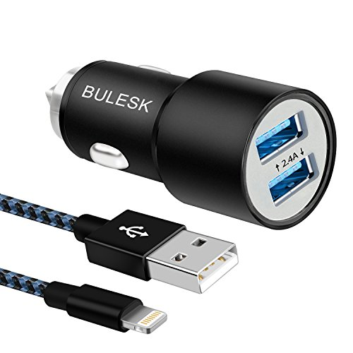 bulesk-car-charger-24w-48a-rapid-dual-port-usb-car-adapter-with-3ft-8pin-usb-cable-charging-cord-wit