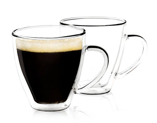 Dragon Glassware Espresso Cups - 6 oz / 177 ml - Perfectly Sized Espresso Double Wall Glass Mugs for Cappucinos, Coffee, Expresso, Lattes, Tea - Gift Boxed - Set of 2 Cups