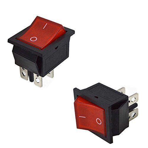 URBEST 10Pcs Red Light On/Off DPST 2 Position Boat Rocker Switch 16A/250V 20A/125V AC for Treadmill, Coffee pot