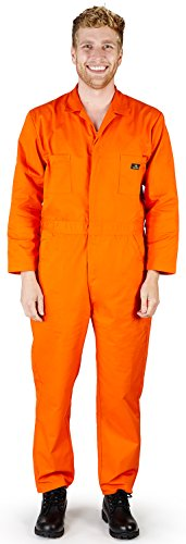 - NATURAL WORKWEAR - Mens Long Sleeve Basic Blended Coverall, Orange 38878-X-Large