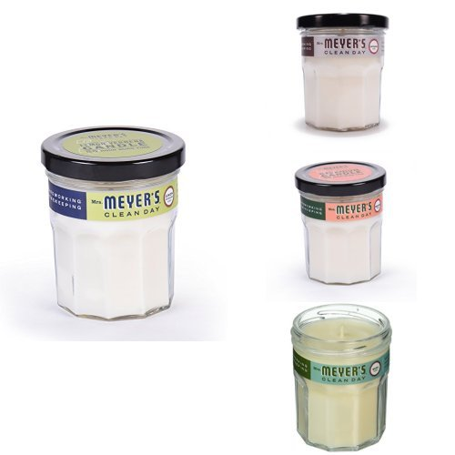 Mrs. Meyer's Soy Candle 4ct Fragrance Variety Pack - Lemon Verbena, Lavender, Geranium, Basil -