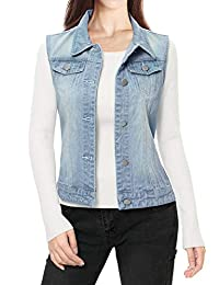 Allegra K Women's Buttoned Washed Denim Vest Jacket w Chest Flap Pockets