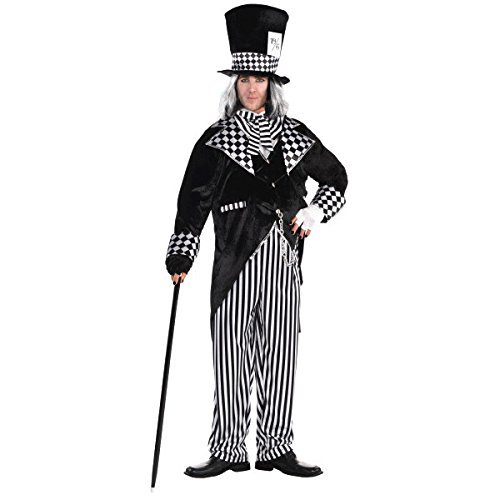 Amscan Adult Black & White Mad Hatter Costume - Plus XXL (48-52) ()