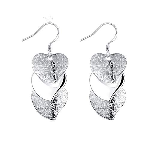 lightclub Fashion Multilayer Love Heart Glossy Embossed Long Pendant Earrings Jewelry Earrings for Women Silver