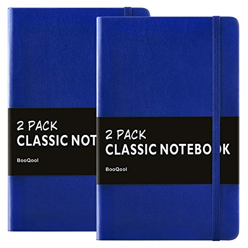 (2 Pack Notebooks/Journals - Premium Thick Paper Faux Leather Writing Classic Ruled Notebook, Blue, Hard Cover, Large, Lined (5 x)