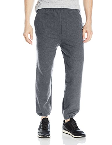 Gildan Men's Fleece Elastic Bottom Pocketed Pant, Dark Heath