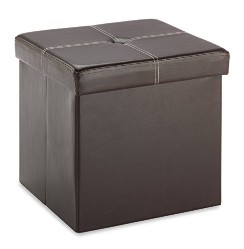 Whitmor Faux Leather Collapsible Ottoman Storage - Brown