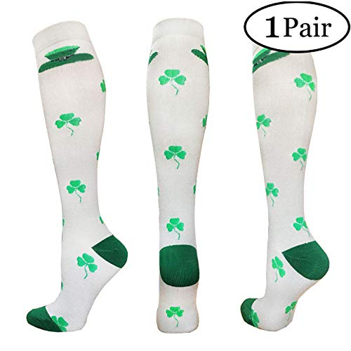 Compression Socks For Men & Women - 1/3/6 Pairs - Best Sports Socks for Running,Climbing,Sports,Flight Travel- 20-25mmHg (Large/X-Large, For St. Patrick's Day) -