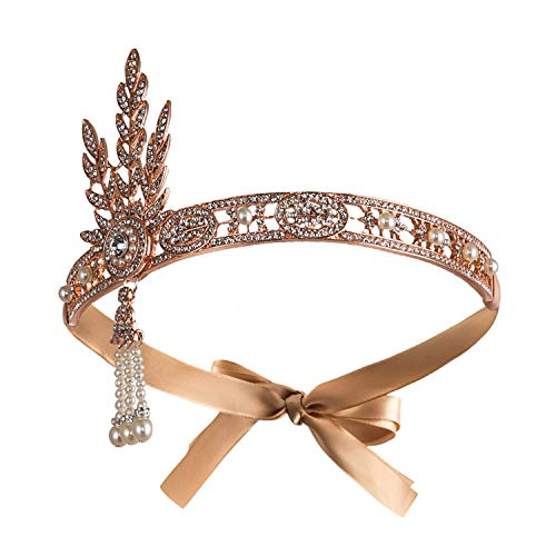 Radtengle 1920s Flapper Headband Great Gatsby Themed Rhinestone Crystal Pearl Wedding Hair Accessories Headpiece]()