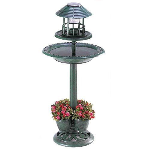 Solar Light Bird Feeder Bird Bath Planter in US - 2