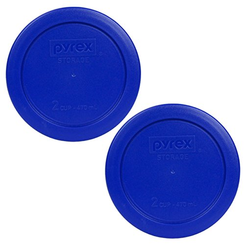 Pyrex 7200-PC 2 Cup Cobalt Blue Round Plastic Lid - 2 Pack (Lid ONLY - Containers NOT Included)