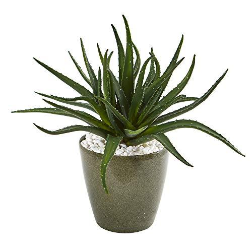 Nearly Natural 8782 19in. Aloe Artificial Decorative Planter Silk Plants, Green