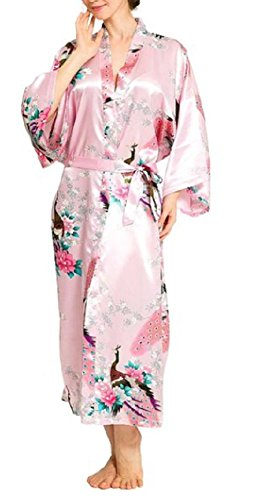 SexyTown Women's Long Floral Peacock Kimono Robe Satin Nightwear with Pockets X-Large Pink (Long Silk Dress)