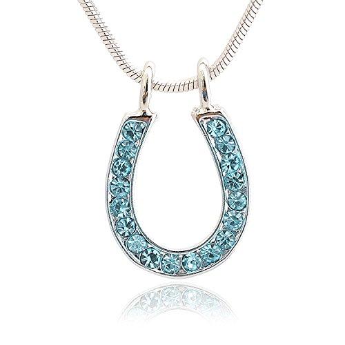 SpinningDaisy Silver Plated Crystal Trendy Horseshoe Necklace (Blue (Tiffany Horseshoe Necklace)