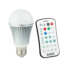 Coidak CO816 A19 LED Color changing Light Bulb with Timer & Sleep Function, 6W RGB+ 6W Pure White, with 2.4G RF Wireless Remote Controller (Can Bypass Obstacles, Not IR), Dimmable E26 Lamp, Aluminum Shell, 1-PACK