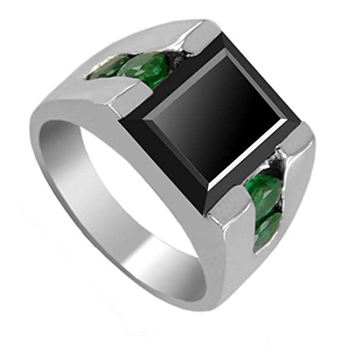 2.05 Ct Princess Black Diamond Designer Silver Ring with Emerald Accents for Men's by Barishh