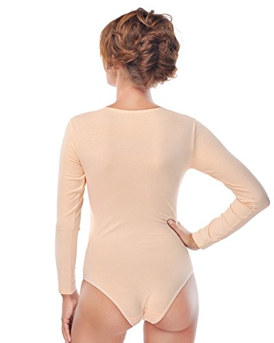 sport con ottima alternativa e body elegante tempo per libero maniche a body lunghe da Evoni donna Beige body sport intero completo rotondo collo per pXaq7B