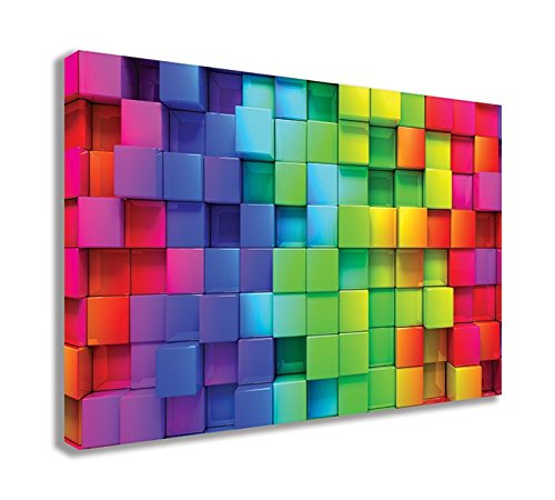 ABSTRACT RAINBOW BLOCKS COLOURFUL CANVAS WALL ART - Abstract rainbow wall decor