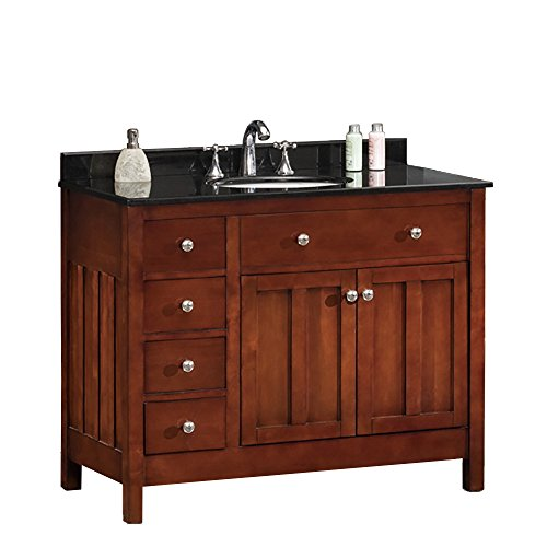 Ove Decors ADAM Adam 42-Inch Vanity in Dark Cherry with Black Granite Vanity Top and White Basin