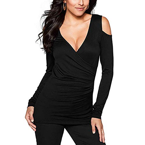 (Sunhusing Women's Solid Color Off-Shoulder Long Sleeve Sexy Deep V-Neck Shirt Casual Skinny T-Shirt Top Black)