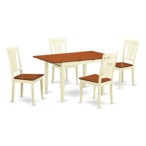 East West Furniture NOAV5-WHI-W 5 Piece Kitchen Table and 4 Chairs Dinette