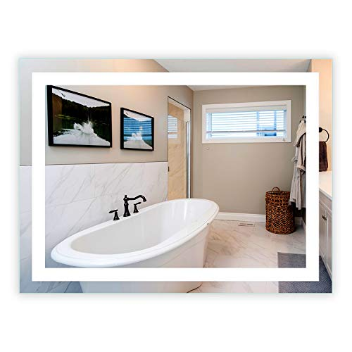LED Front-Lighted Bathroom Vanity Mirror: 48' Wide x 36' Tall - Commercial Grade - Rectangular -...