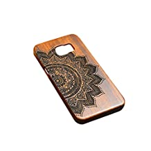 6 Patterns Natural Wooden Carve Phone Case Cover Skin for Samsung Galaxy S6 Shockproof - Flower, XL