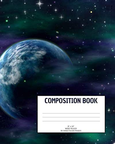 "Composition Book: Galaxy; wide ruled; 50 sheets/100 pages; 8"" x 10"" by Atkins Avenue Books"