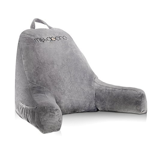 mittaGonG Backrest Reading Pillow with Arms Removable Cover Gray (Best Back Support Pillow For Bed)