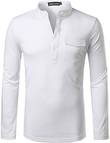 Whatlees Mens Hipster Slim Fit Basic Solid Henley Long Sleeve V Neck T Shirt Tops with Flap Pocket White (Basics Flap)