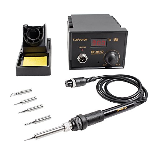 SunFounder Digital Electric Soldering Station SF-987D 500℃ Adjustable LED Display Temperature Thermostat Soldering Station Kit with Soldering Stand Sponge 4 Soldering Tips