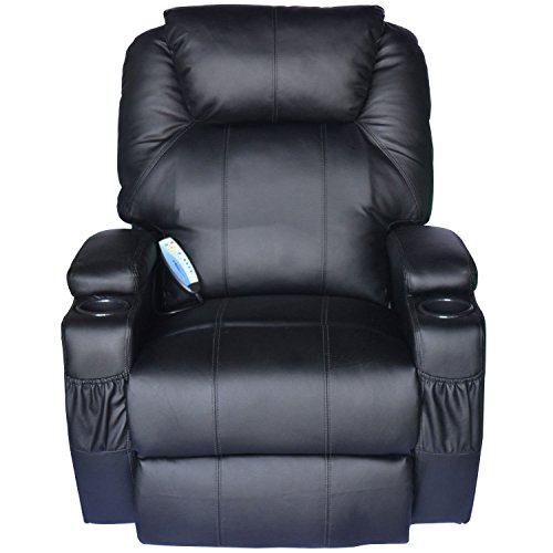 Tenive Deluxe Heated Vibrating PU Leather Massage Recline...